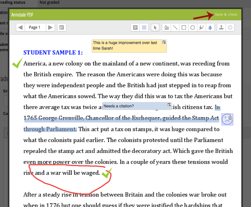 Gradebook assignment activity and how to setup for online google step 7 teachers can go back and annotate the document as many times as necessary and all annotations remain active and can be moved and deleted ccuart Image collections